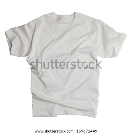 White Shirt with Wrinkles Isolated on White Background. - stock photo