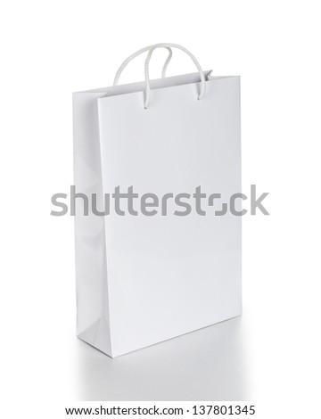 white shopping bag - stock photo