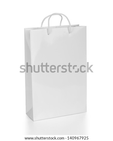 white shopping bag - stock photo