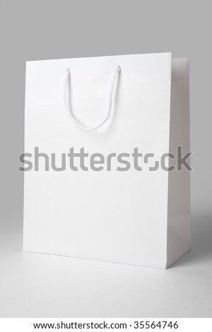 White Shopping Bag close up shot - stock photo