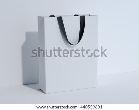 White shopping bag in bright studio. 3d rendering