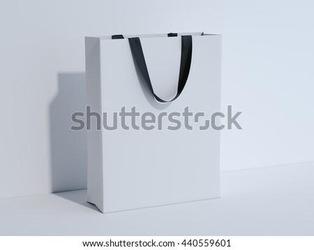 White shopping bag in bright studio. 3d rendering - stock photo