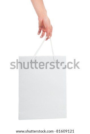 White Shopping Bag Isolated on a white background - stock photo