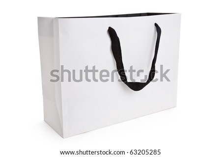 White Shopping Bag Isolated On White - stock photo