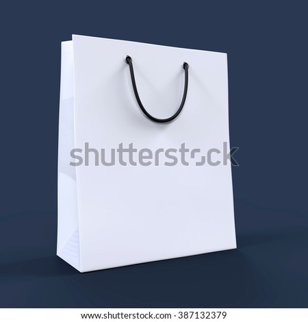 White shopping bag on dark background