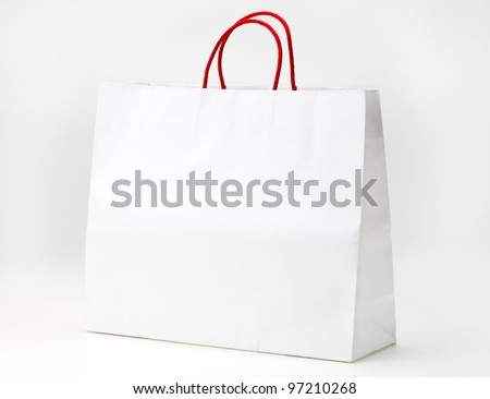 White shopping bag on white. - stock photo