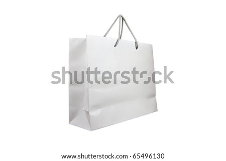 White shopping bag over white background