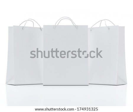 White Shopping Bags Isolated on White Background - stock photo