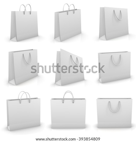 white shopping paper bag isolated on white background, illustration.