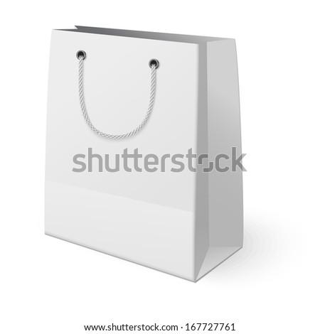 White shopping paper bag isolated on white background. Raster version illustration. - stock photo