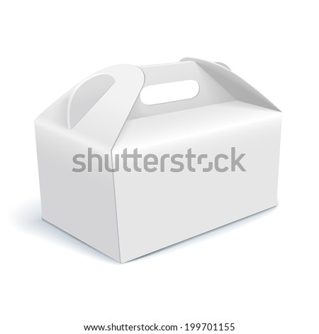 white short cardboard carry box packaging for food, gift or other products. on white background Isolated.  - stock photo
