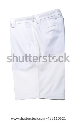 White short pants, trousers on white background