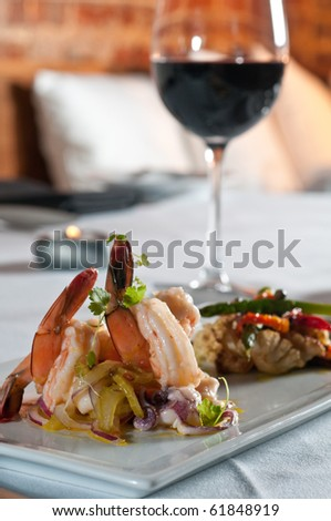 White shrimp and octopus escabeche - stock photo