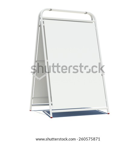 White sidewalk sign with empty surface. Isolated on white background