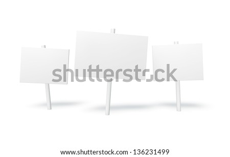 White sign on the white background - stock photo