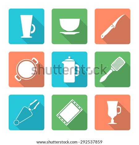 white silhouette falt design dinnerware tableware utensil icons mug, soup plate, citrus knife, pan, teapot, grater, tongs, oven-tray, dripping pan, mug, cup   - stock photo