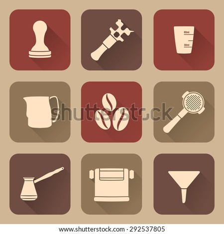 white silhouette flat design coffee barista equipment icons set tools espresso tamper, coffee wrench, measuring glass, pitcher, coffee beans, filter holder, funnel, knockbox, turk coffee pot  - stock photo