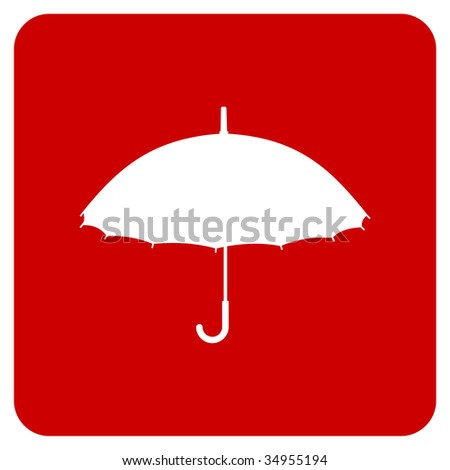 White silhouette of an umbrella on a red background.