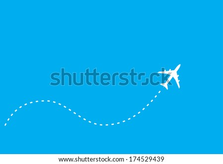white silhouette of jet airplane, isolated on blue - stock photo