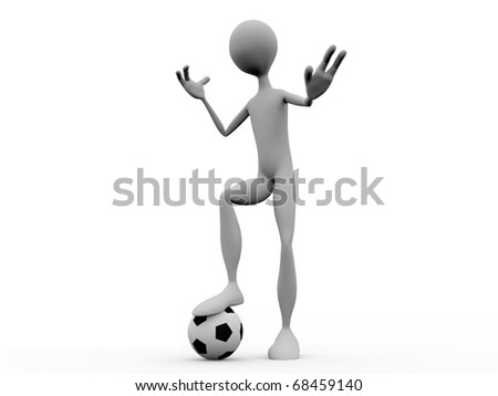 white silhouette playing football isolated on white background