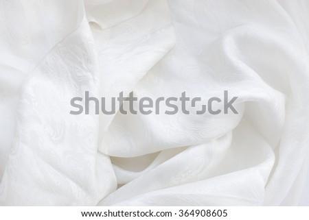 white silk  fabric - drapery background - stock photo