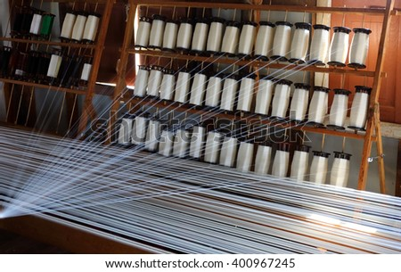 White silk thread on the weaving tool, Inle lake, Myanmar (Burma) - stock photo