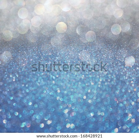 white silver and blue abstract  bokeh lights. defocused background  - stock photo