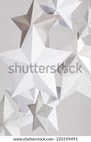 white, silver and pearl paper stars - stock photo