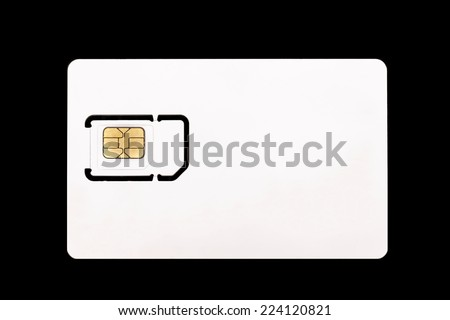 white sim card for mobile phone close up on the black background