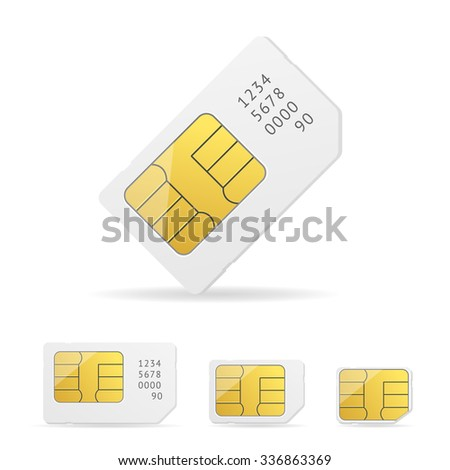 White Sim Card Set with Number. illustration - stock photo