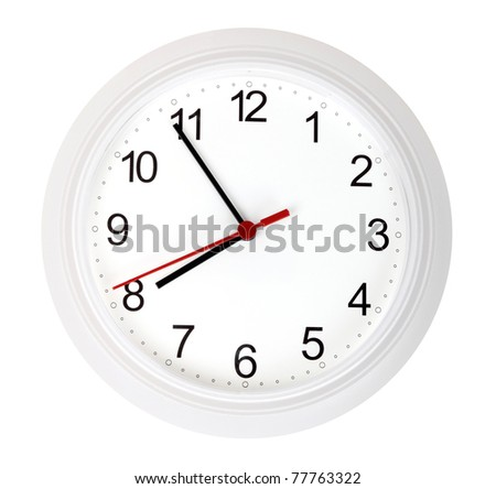 White simple clock, isolated on white background - stock photo
