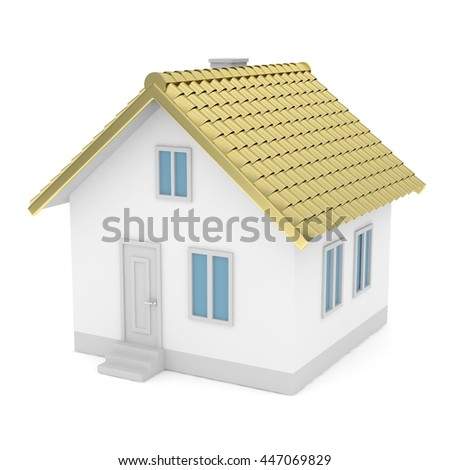 d House Plans Stock Photos  Royalty Free Images  amp  Vectors    White simple house   golden roof on white background  Concept of investment in real estate