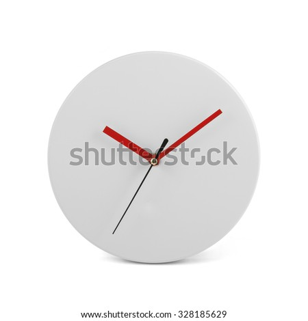 White simple round wall clock - watch isolated on white background - stock photo