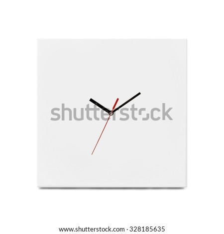 White simple wall clock - watch isolated on white background - stock photo