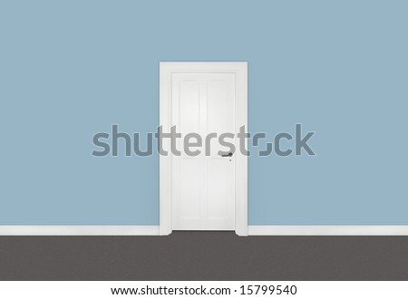 White single door against blue wall - stock photo