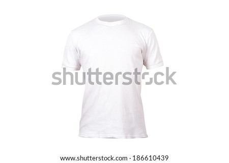 White single tshirt template for your design, front view, isolated on white background. - stock photo
