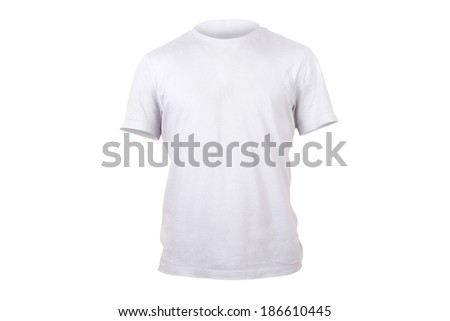 White single tshirt template for your design, front view, isolated on white background.
