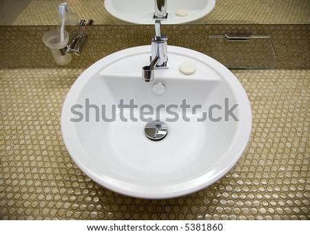 White sink in bathroom 2 - stock photo