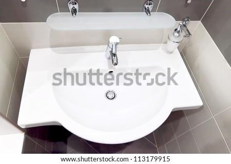 White  sink   in SPA salon. - stock photo