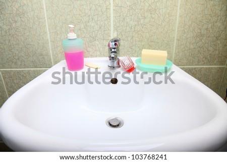 white sink in the bathroom indoor nobody - stock photo