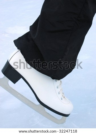 White skate / Woman at the handmade rink - stock photo