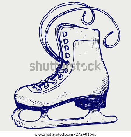 White skates. Doodle style. Raster version - stock photo