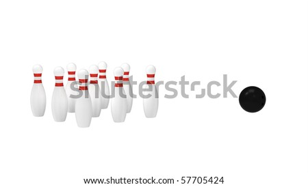 White skittles and black ball isolated on white, bowling, 3d render
