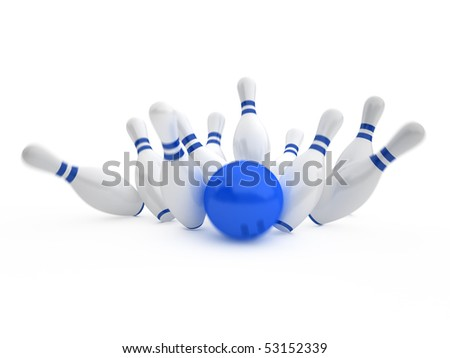 white skittles and blue ball on white background, bowling - stock photo