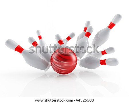 white skittles and red ball on white background - stock photo