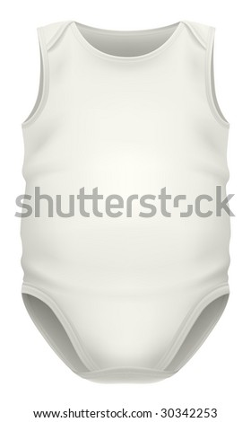 White sleeveless baby bodysuit. Very detailed & clean image, rendered from vector file. Clipping path included. - stock photo