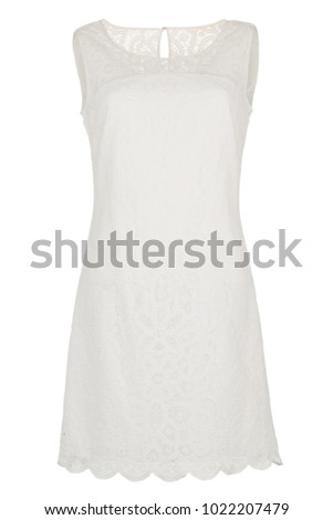 White sleeveless lace fashion dress, photographed on ghost mannequin, isolated on white background. Front Back view.