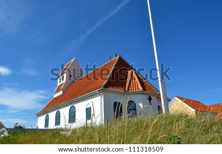 White small church in Skagen town on a sunny day