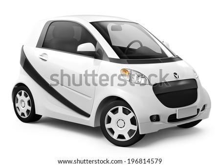White smart 3D car - stock photo