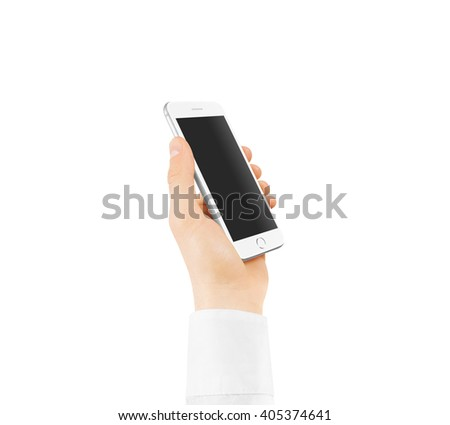 White smart phone blank screen mock up holding in hand. Mockup of smartphone empty display isolated. Cellphone clear monitor hold arm white sleeve shirt. Phone side holding, clipping path. - stock photo